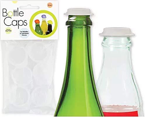 Linden Sweden Reusable Plastic Bottle Caps Set of 10 - Save Beverages Prevent Spillage - Dishwasher-Safe - BPA-Free  White