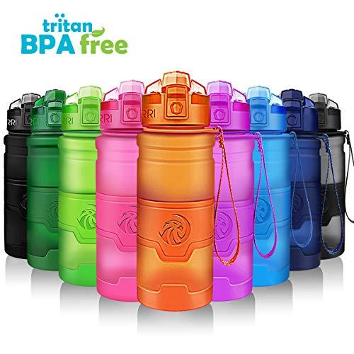 ZORRI Sports Water Bottle 400500700ml1L BPA Free Leak Proof Plastic Bottles OutdoorsCampingCyclingFitnessGymYoga- KidsAdults Drink Bottles FilterFlip TopLockable Lid Open 1 Click