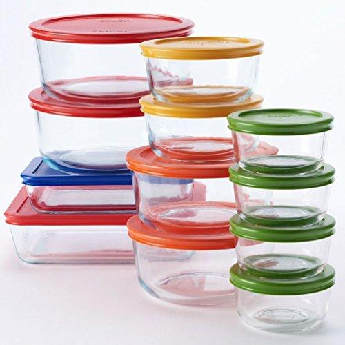 Pyrex 24-pc Glass Storage Set with Color Lids