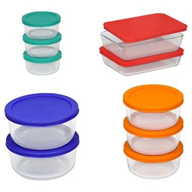 Pyrex Storage Set Clear Red Orange Blue Green20 Pieces