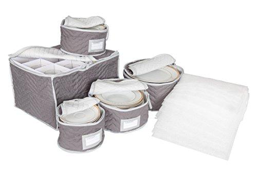 Richards Homewares China and Glassware Storage Set Deluxe Microfiber with Braidz Foam Padding - Grey