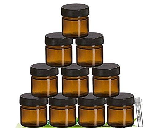 Perfume Studio Amber Glass Jar Set with Black Screw Lids For Cosmetics Ointments Salves Skincare Storage More 25 ml - 10 Jars