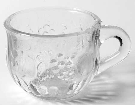 Jeannette Glassware Fruit Pattern Clear Glass Punch Cup 4 Oz