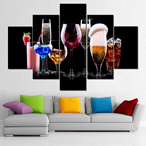Wine Glasses  Cup Paintings for Living Room Colorful Cocktail Pictures Juice Wall Art Multi Panel Prints Canvas Artwork Giclee Kitchen Modern House Decor Stretched Framed Ready to Hang 60Wx 40H
