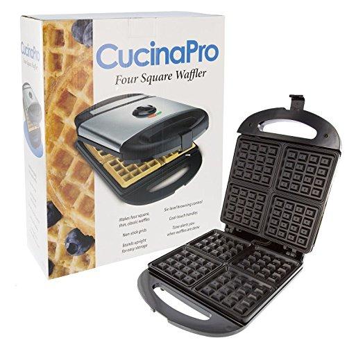 Cucinapro Waffle Maker - Four Square Classic Thin Waffle Iron - 1473, 100% Non-stick