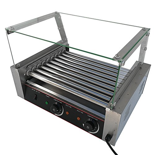 Hot-dog Maker Grill FCH 9 Roller Electric Sausage Cooker Warmer Machine Durable Temperature Controls Commercial Grade Stainless Steel