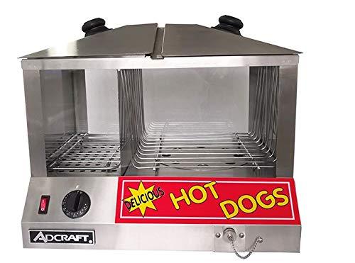 New Model Adcraft Commercial Hot Dog Bun Steamer - 100 Hot Dog48 Bun Capacity - HDS-1300W100