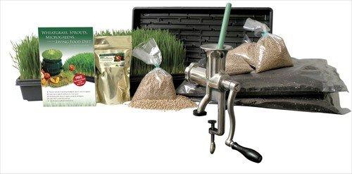Organic Wheatgrass Growing Kit w Hurricane Stainless Steel Wheat Grass Juicer- Everything to Grow Juice Wheatgrass