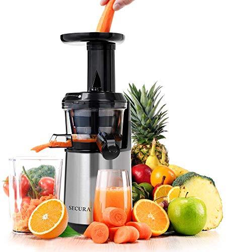 Secura Slow Juicer Masticating Juicer Big Mouth Cold Press Juicer Low Speed Juicer for High Nutrient Fruit and Veggies Juice
