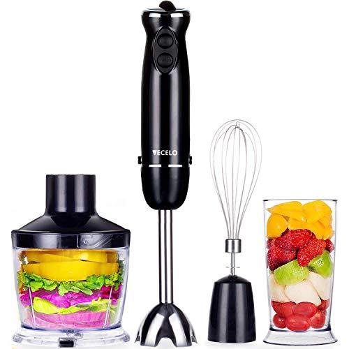 VECELO Premium 4-in-1 Immersion Hand Blender Set with Food Processor Chopper Egg Whisk 500ml Beaker 6 Variable Speeds - Black Renewed