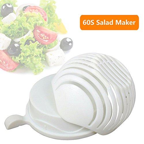 60 Seconds Salad Maker Salad Cutter Bowl Fruit Chopper Bowl Vegetable Slicer Bowl Fast Fresh Salad ChopperWhite