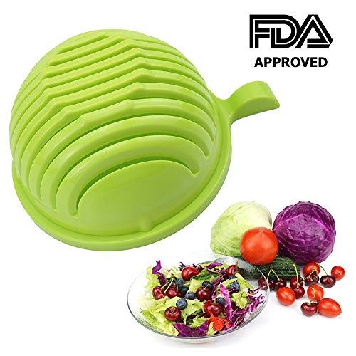 Salad Cutter Bowl - PFFY 60 Seconds Salad Maker Easy Fruit Vegetable Cutter Bowl Fast Fresh Salad Slicer Salad Chopper Green