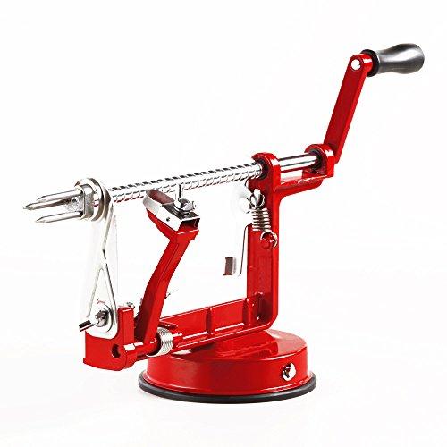 Red Enameled Cast Iron Apple Peeler Slicer and Corer