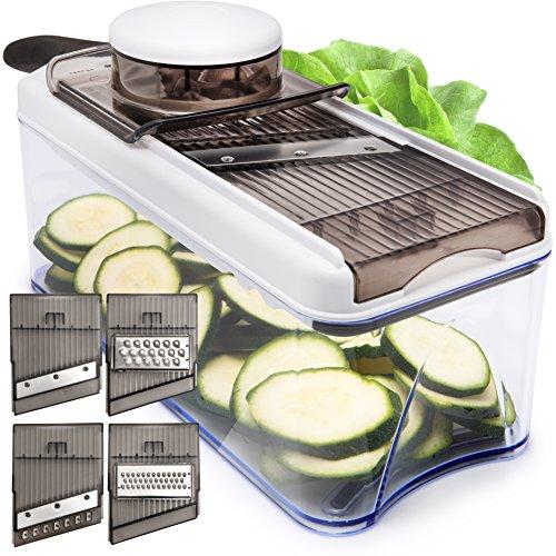 Adjustable Mandoline Slicer - 5 Blades - Vegetable Cutter Peeler Slicer Grater Julienne Slicer Black