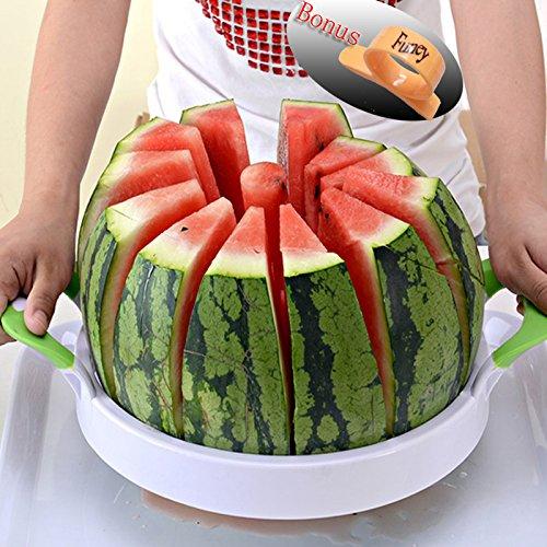 """Watermelon Slicer 157"""" Large Stainless Steel Fruit Cantaloup Melon Slicer Cutter Peeler Corer Server for Home"""