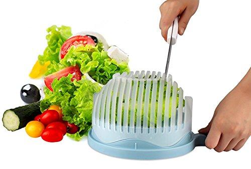 Salad Cutter Bowl 60 Seconds Salad Maker Bowl Vegetable Fruit Cutter Chopper Bowl Make Your Salad Easily Blue
