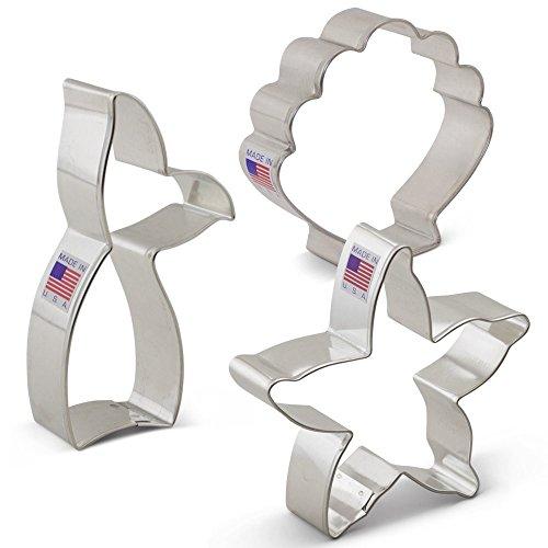 Mermaid Cookie Cutter Set - 3 piece - Mermaid Tail Starfish Seashell - Ann Clark - US Tin Plated Steel