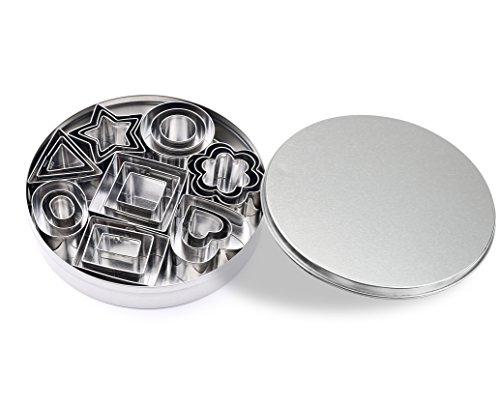 ShengHai Mini Cookie Cutter set – 24 Pieces Metal Fondant Cutters – 3 Hearts Shape 3 Stars Shape 3 Flowers Shape and 15 Geometric Shape