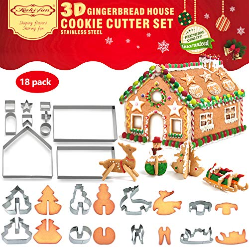 18 PCS 3D Christmas House Cookie Cutter Set Gingerbread House Cutters Kit Festive Xmas Stainless Steel Biscuit Cutter Set Including Christmas Tree Snowman Reindeer Sled Shapes Gift Box Package