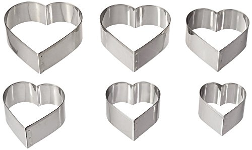 Ateco Graduated Heart Cookie Cutters Set of 6