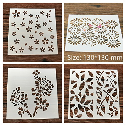 4 Pcs Packed Flower Plant Cookie Cake Stencil Decorate Mold Fondant Biscuit Tool