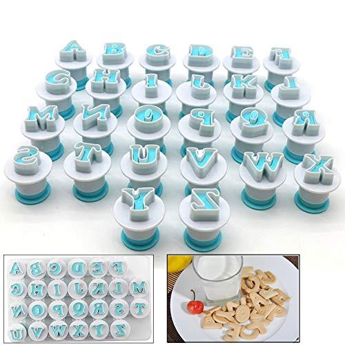 Neepanda Alphabet Letter Fondant Cake Biscuit Mold Cookie Stamp Impress Alphabet Letters Cake Tool Embosser Cutter Upper Case Letter Shape DIY Cookie BiscuitPlastic 26PCSSet