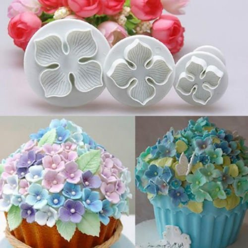 EVERMARKET Hydrangea Laurustinus Flower Fondant Cookie Cake Decorating Sugarcraft Plunger Cutter DIY Mold 1 Set with 3 pcs