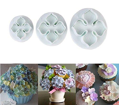Ninewell 3pcs Hydrangea Laurustinus Flower Fondant Cookie Cake Decorating Sugarcraft Plunger Cutters DIY Mold