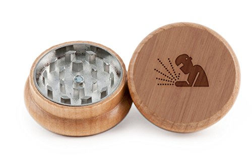 Welder Herb and Spice Grinder - 2 Piece Wood Grinder with Laser Etched Designs - Made with Oak 2 Inches