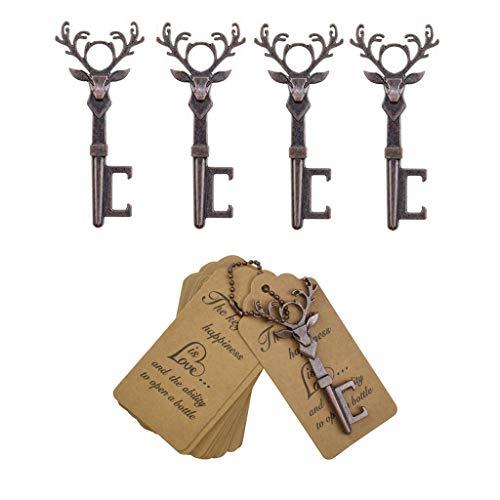 DerBlue 40 PCS Christmas Reindeer Key Bottle OpenersVintage Key Bottle Opener Wedding Favors Key Bottle Opener Rustic Decoration with Escort Tag CardRed Copper