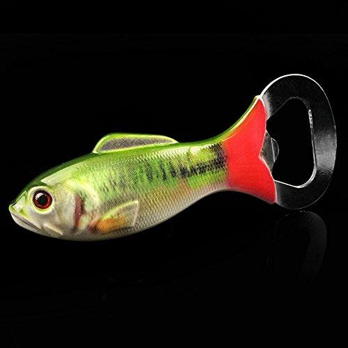Fish Shape Beer Bottle Opener Stainless Steel Bottle Opener Simulated Fish Shape Corkscrew Fish Bottle Opener for Gift Green
