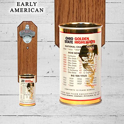 Wall Mounted Bottle Opener with Vintage Gambrinus Ohio State Buckeye Beer Can Cap Catcher