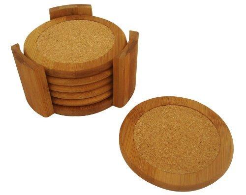 Home Basics Coaster Set, Bamboo