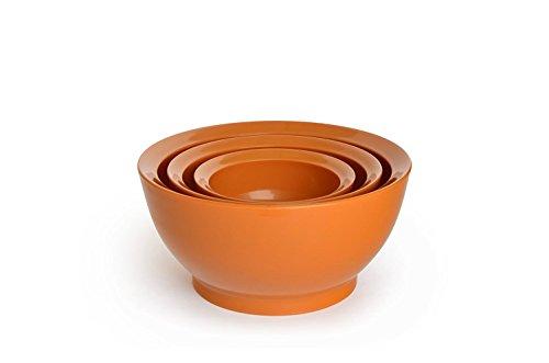 CaliBowl Ultimate Mixing Bowls with Non-Slip Base Set of 3 Assorted Sizes Orange