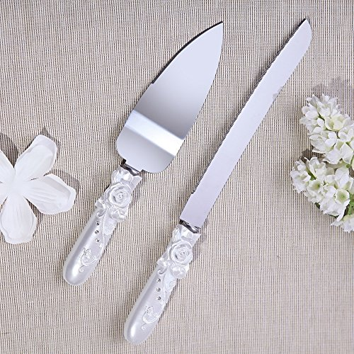 Wedding Accessories - Personalized Cake Knife and Server Set Rose in Bloom