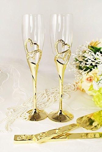 Gold Wedding Toasting Glass Knife and Wedding Cake Server Set Personalized Engraved