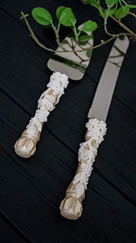 Lace wedding cake cutting set Ivory wedding cake server set Personalized cake serving set Engraved wedding cake knife set