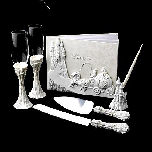 Majestic White Cinderella Castle Wedding Cake Server Set