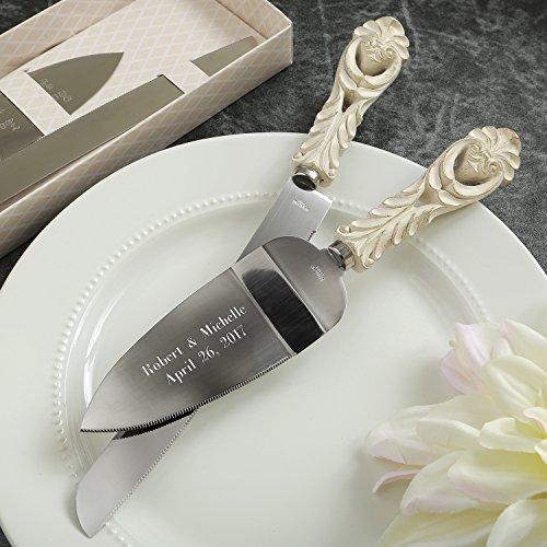 Engraved Vintage Design Antique Ivory Cake Server And Cake Knife Wedding Set