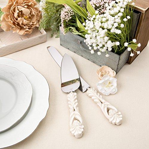 Fashioncraft Baroque Design Antique Ivory Cake Server And Cake Knife Set Ivory