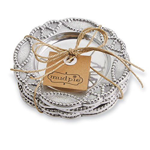 Mud Pie Knot Beau Metal Coasters Set of 4 Silver