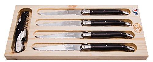 Jean Dubost Laguiole 5-Piece SteakWine Knife Set Black