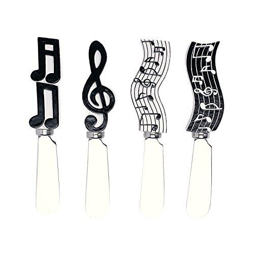 Wine Things Musical Notes Resin Cheese Spreaders Set of 4 Black