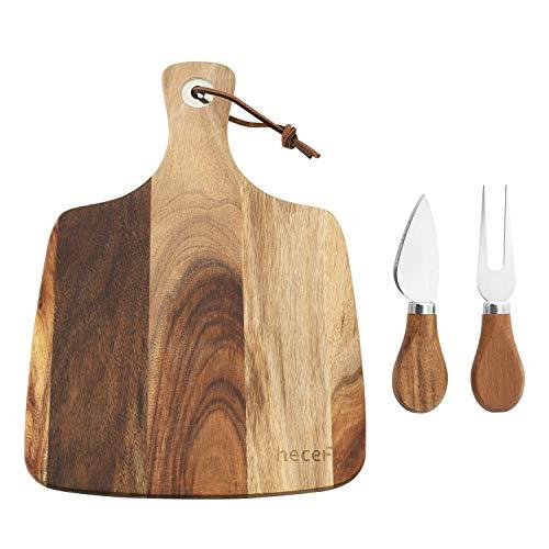 Hecef Cheese Board Set of 3 an Acacia Wood Cheese Board a Cheese Knife a Cheese Fork Perfect Cheese Serving Board Cheese board with 2 knives