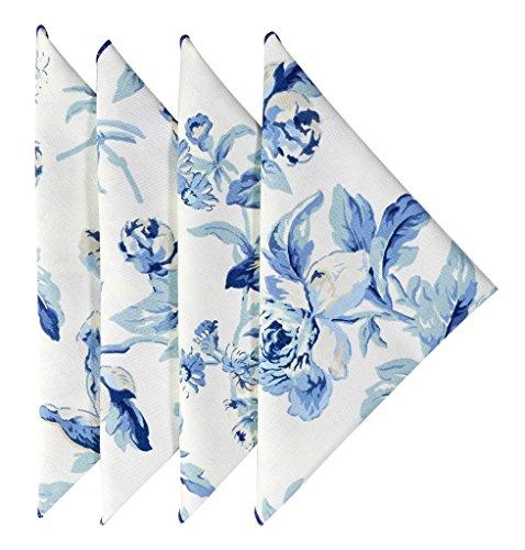Cloth Napkins 18 Inches Linen Napkins Table Linens Cotton Fabric Set of 12 Blue Floral