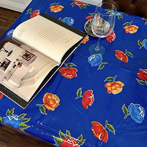 Flowerpots Oilcloth Tablecloth for Patios Picnic and Kitchen Tables - Blue - Plastic Vinyl PVC - Mantel de Plastico 55Wx70L Rectangle
