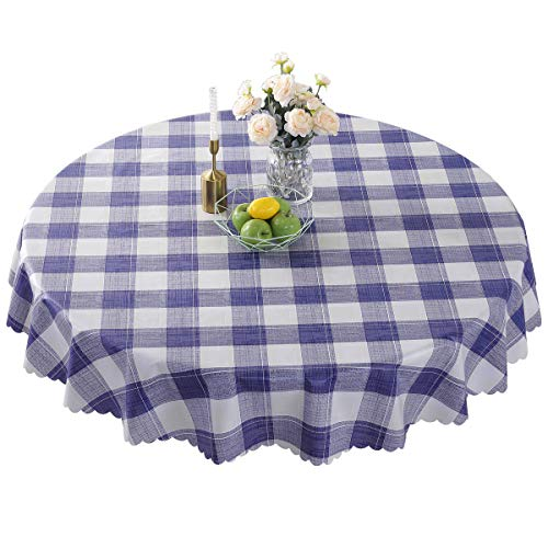 Round Vinyl Oilcloth Tablecloth Waterproof PVC Plastic Wipeable Spillproof Peva Heavy Duty Stainproof Vinyl Tablecloth for Card Table Blue Checker 70 Inch
