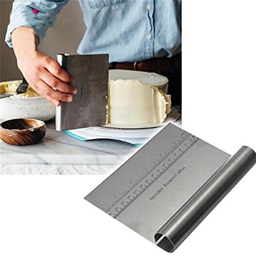 Stainless Steel Dough Scraper - Stainless Steel Patisserie Pizza Dough Scraper Cutter Cake Shop Baking Pastry Spatulas Fondant Cake Decorating Tools