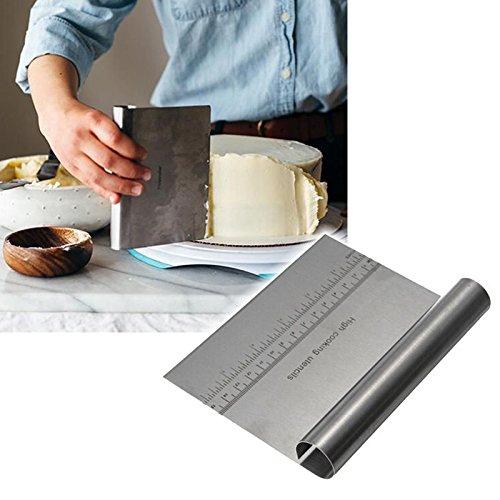 Yiemoneer Stainless Steel Pizza Dough Scraper Cutter Kitchen Flour Pastry Cake Tool Gadget