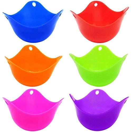 6 Pcs Silicone Egg Poachers Cups SENHAI BPA Free Egg Mold Egg Boiler Cups
